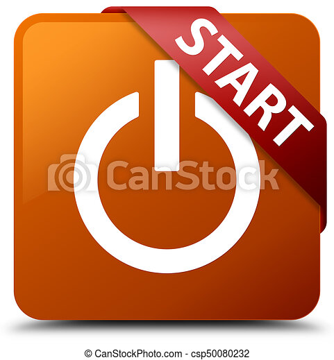 Start (power icon) brown square button red ribbon in corner - csp50080232