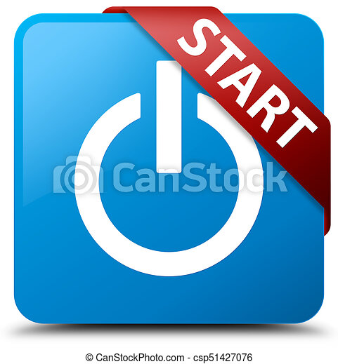 Start (power icon) cyan blue square button red ribbon in corner - csp51427076