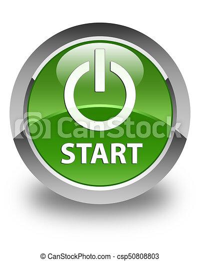 Start (power icon) glossy soft green round button - csp50808803