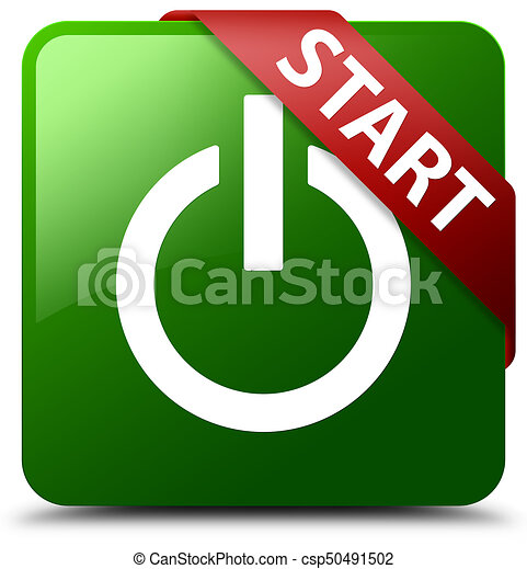 Start (power icon) green square button red ribbon in corner - csp50491502