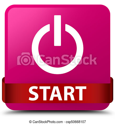 Start (power icon) pink square button red ribbon in middle - csp50668107