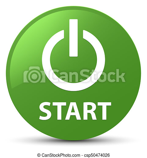 Start (power icon) soft green round button - csp50474026