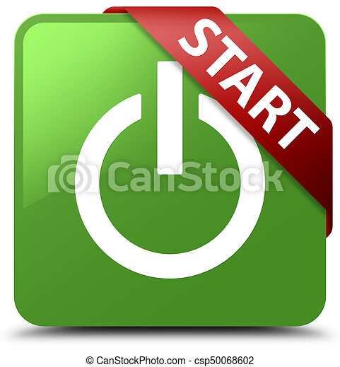 Start (power icon) soft green square button red ribbon in corner - csp50068602