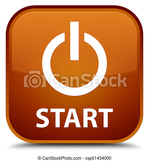 Start (power icon) special brown square button - csp51434000