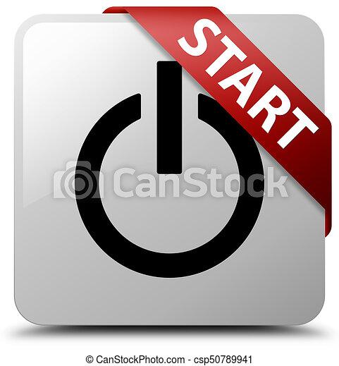 Start (power icon) white square button red ribbon in corner - csp50789941