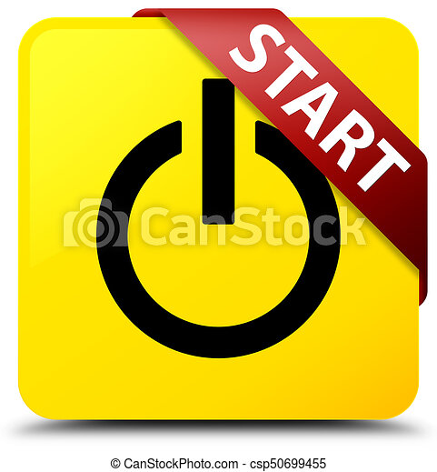 Start (power icon) yellow square button red ribbon in corner - csp50699455
