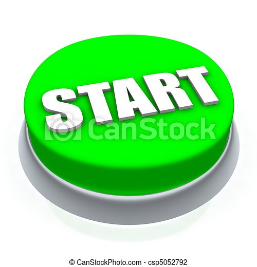 Start round button 3d. Isolated on white. - csp5052792