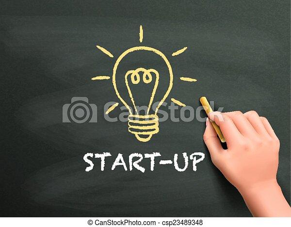 start-up, mot, écrit, main - csp23489348