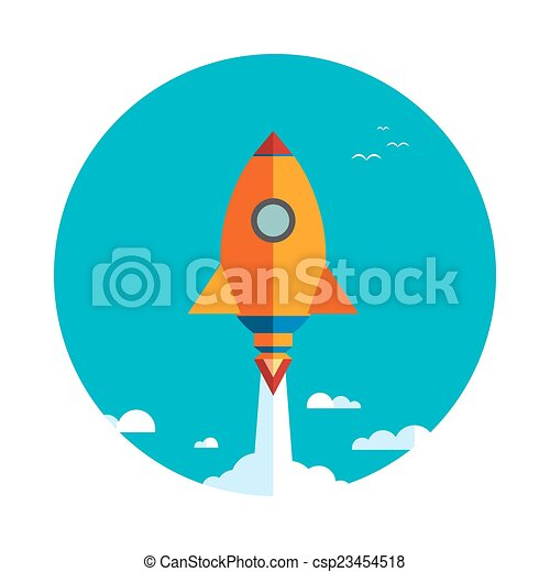 Start up new business project with rocket - csp23454518