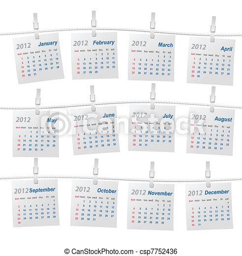 startar, sunday), vektor, kalender, (week - csp7752436