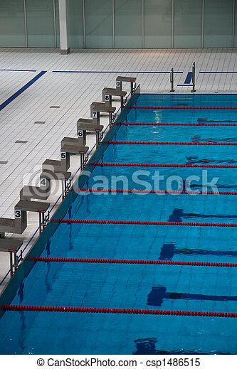 starting blocks stock photo - Olympic Swimming Starting Blocks