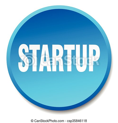 startup blue round flat isolated push button - csp35846118