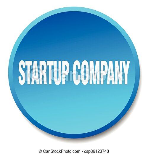 startup company blue round flat isolated push button - csp36123743