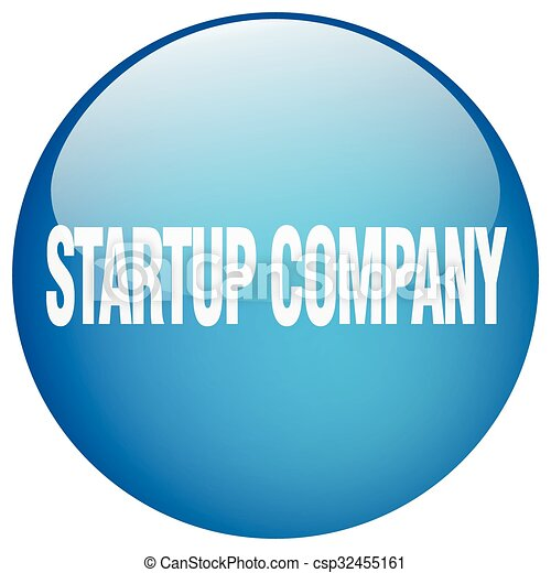 startup company blue round gel isolated push button - csp32455161