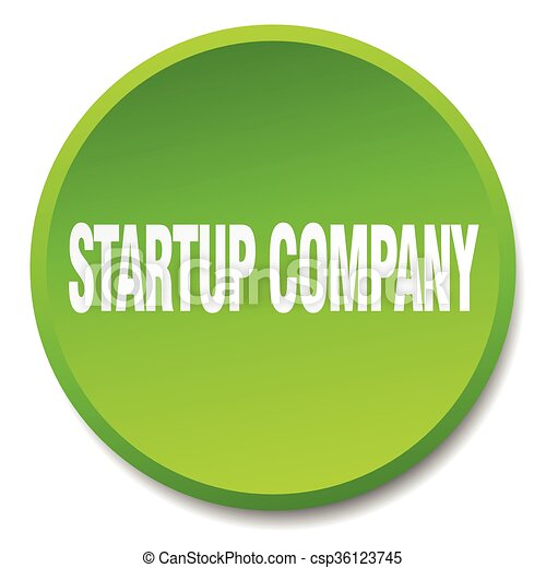 startup company green round flat isolated push button - csp36123745