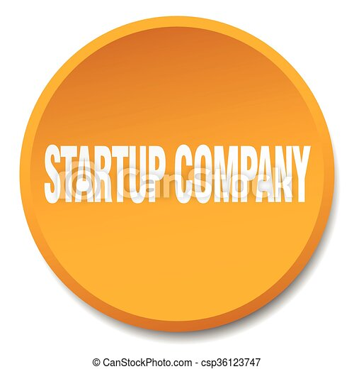 startup company orange round flat isolated push button - csp36123747