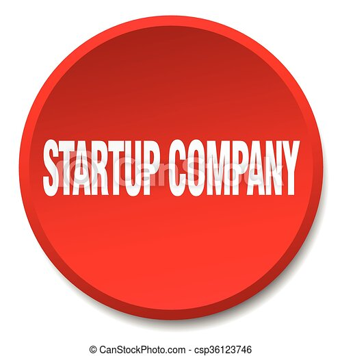 startup company red round flat isolated push button - csp36123746