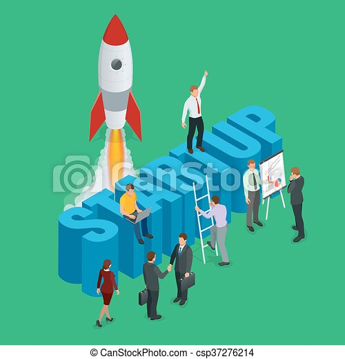 Startup flat 3d isometric style technology business concept web infographics vector illustration. Team working on spaceship launch start up and big word. Creative people collection - csp37276214