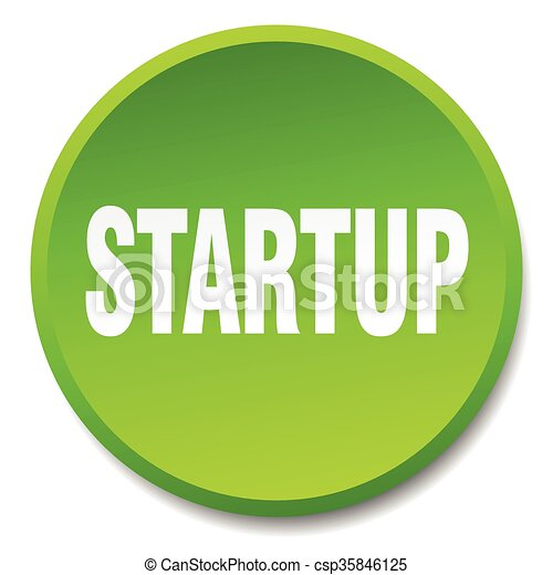 startup green round flat isolated push button - csp35846125