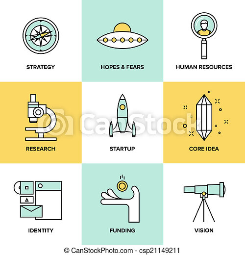 Startup key elements flat icons set - csp21149211