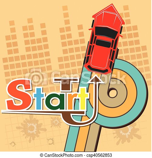 Startup new business project with car image development and launch a new innovation product on a market concept Flat design vector illustration - csp40562853