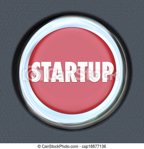 Startup word on a red round car ignition button to illustrate launching your company or business in a new money earning opportunity with help and information from experts - csp18877136