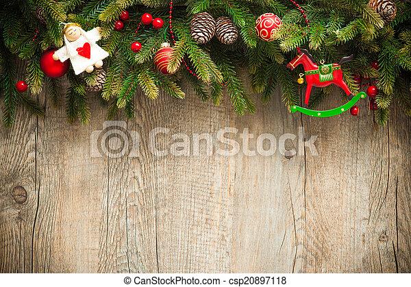 stary, drewniany, na, ozdoba, tło, boże narodzenie - csp20897118