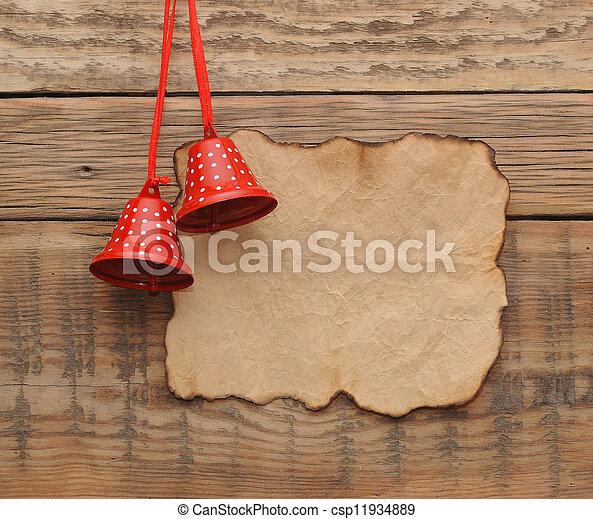 stary, drewniany, ozdoba, ściana, papier, czysty, boże narodzenie - csp11934889