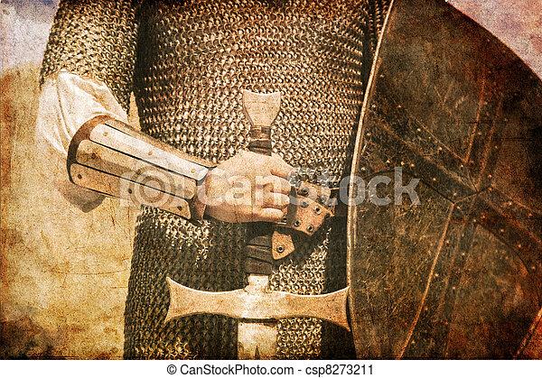 stary, fotografia, wizerunek, sword., rycerz, style. - csp8273211