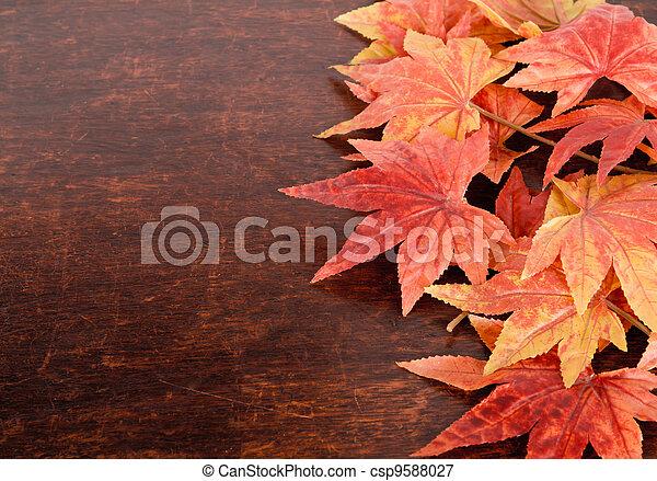 stary, liście, na, sztuczny, drewno, tło, klon - csp9588027