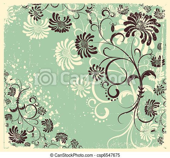 stary, rocznik wina, struktura, ozdoba, wektor, tło, kwiatowy, .flowers - csp6547675