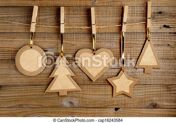 stary, tło, drewniany, papier, ozdoby, boże narodzenie - csp16243584