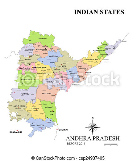 State of andhra pradesh map in india before bifurcation.