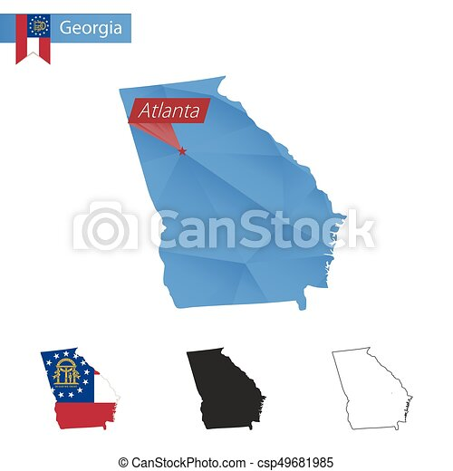 Map Of Georgia With Capital.State Of Georgia Blue Low Poly Map With Capital Atlanta