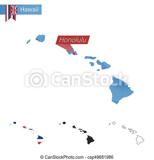 State Of Hawaii Blue Low Poly Map With Capital Honolulu State Of