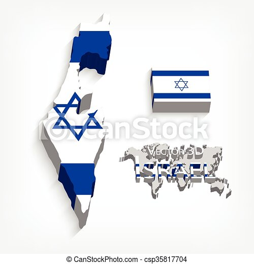 State Of Israel 3d ( Flag And Map )( Transportation And Tourism Concept )