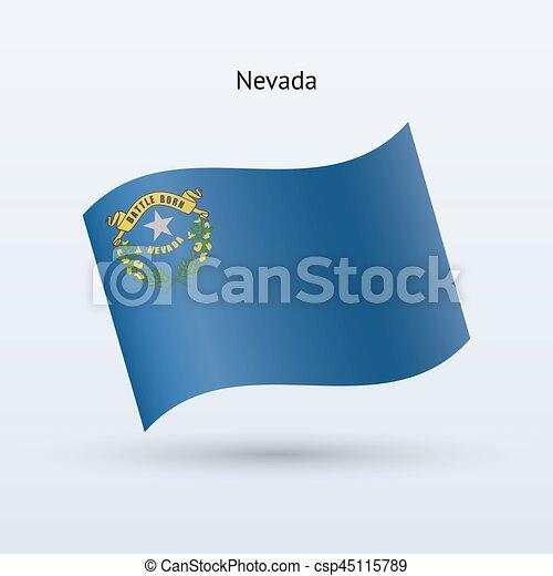 State of Nevada flag waving form. Vector illustration. - csp45115789