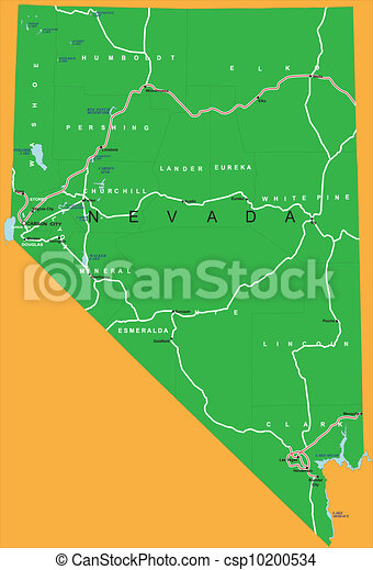 State Of Nevada Political Map Highly Detailed Vector Map Of Nevada