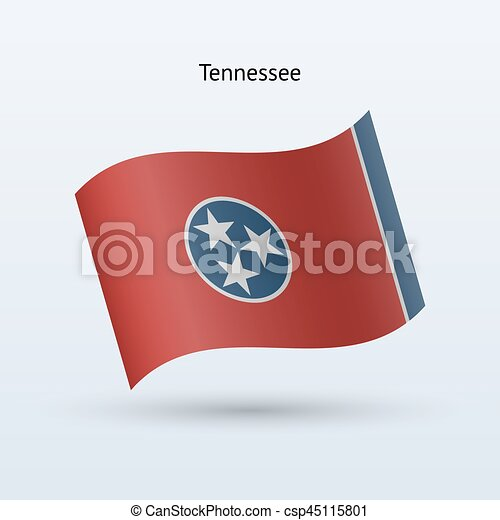 State of Tennessee flag waving form. Vector illustration. - csp45115801