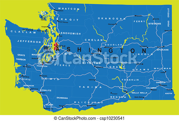 State of Washington political map on