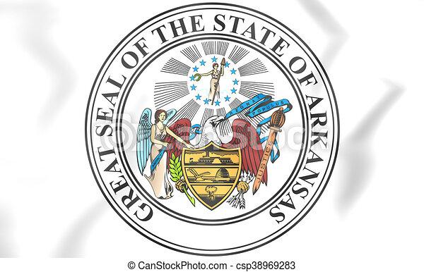 state seal of arkansas usa 3d illustration