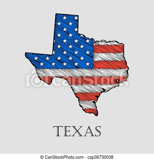 State Texas Vector Illustration State Texas In Scribble Style - Us-flat-map