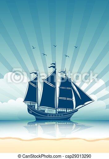 statek, nawigacja, tło - csp29313290