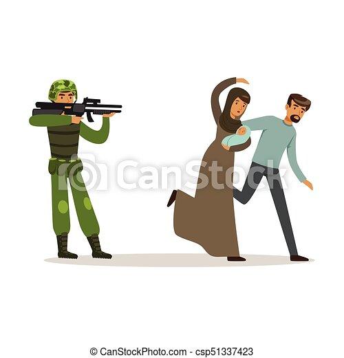 Una pareja de refugiados que escapa del vector de guerra de la ilustración - csp51337423