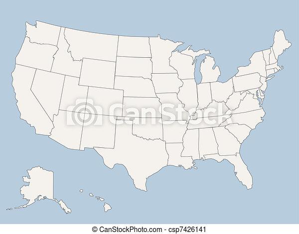staten, kaart, amerika, verenigd, vector - csp7426141