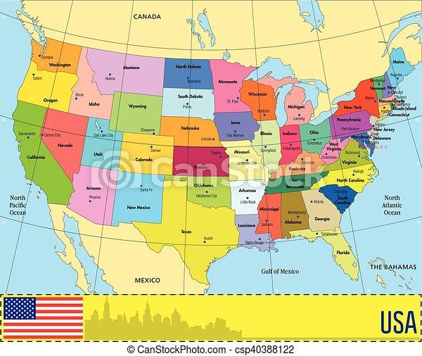 staten, kaart, usa. vector, kaart, eps10., usa, states.
