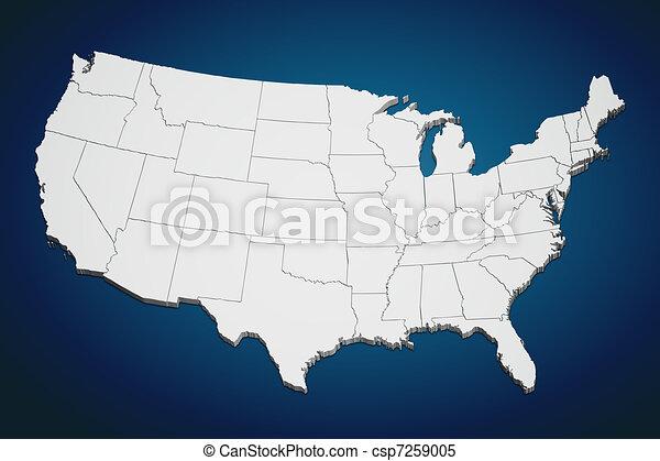 staten, kaart, verenigd, blauwe  - csp7259005