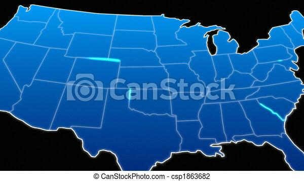 staten, kaart, verenigd - csp1863682