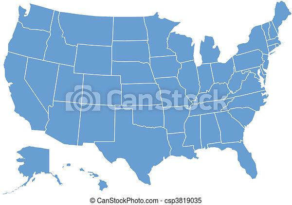 staten, kaart, verenigd - csp3819035