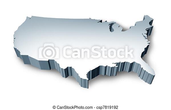 staten, kaart, verenigd, leeg, 3d - csp7819192